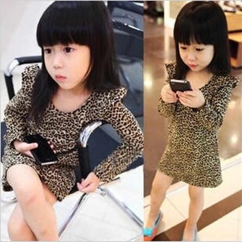Ragazze del Vestito della Molla E di Autunno Scherza I Vestiti Nuove Ragazze Vestiti Della Stampa Del Leopardo Del Vestito A Maniche Lunghe Coreano Ragazze Vestiti Dei Bambini