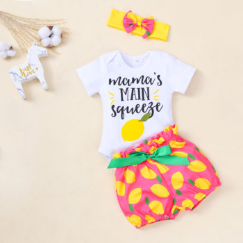 2020 New Toddler Kids Baby Girl clothing Infant Clothes Romper Tops Fruit Print bowknot Pants Headband Bodysuit Outfits 3Pcs Set thanksgiving toddler kids baby girl clothes long sleeve tops plaid pants leggings headband 3pcs outfits clothes set