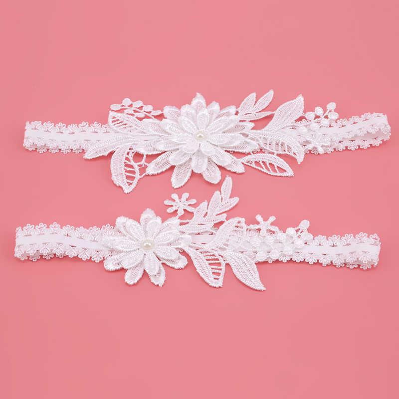 2 pièces jarretière de mariage bleu marine blanc broderie florale Sexy jarretières femmes/femme/mariée cuisse anneau de mariée dentelle jambe anneau boucle