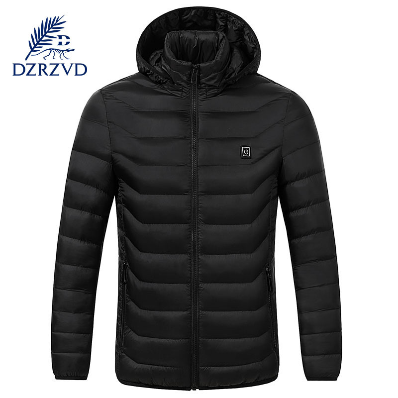 New Winter Intelligent Constant Temperature Men's Fever Cotton-padded Clothes Plain Hooded Middle-aged Cotton-padded Clothes