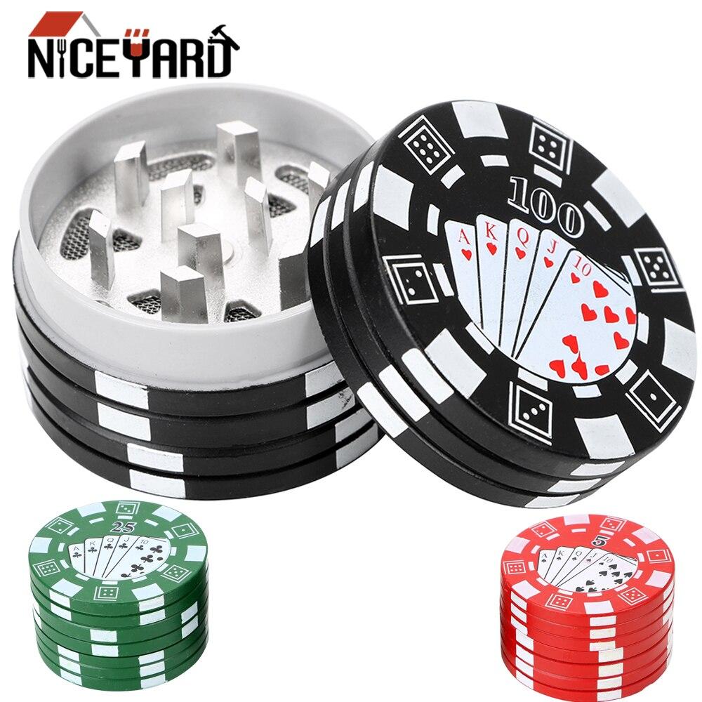 NICEYARD 3-schicht Poker Chip Stil Gewürz Unkraut Cutter Zigarette Zubehör Gadget Tabak Grinder Kraut Cutter