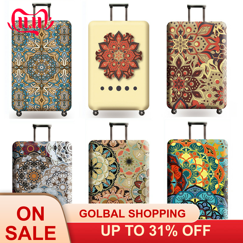 Datura Flowers Travel Luggage Cover Chinese Style Trolley Suitcase Cover Travel Essential Elasticity Case Protect Dust Case