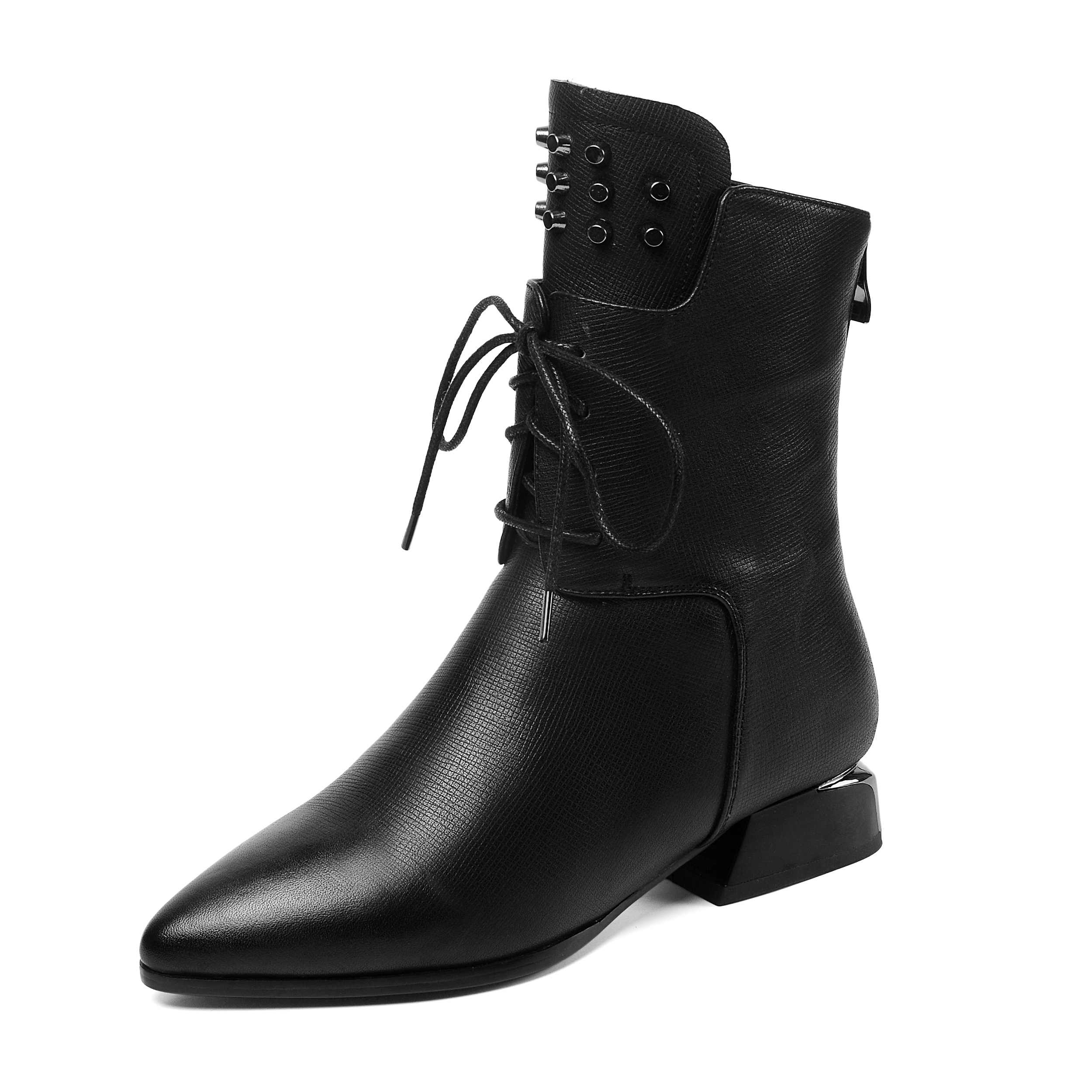Image 2 - Krazing Pot solid rivets lace up genuine leather pointed toe med  heels mature women leisure fashion cozy warm mid calf boots L11Mid-Calf  Boots