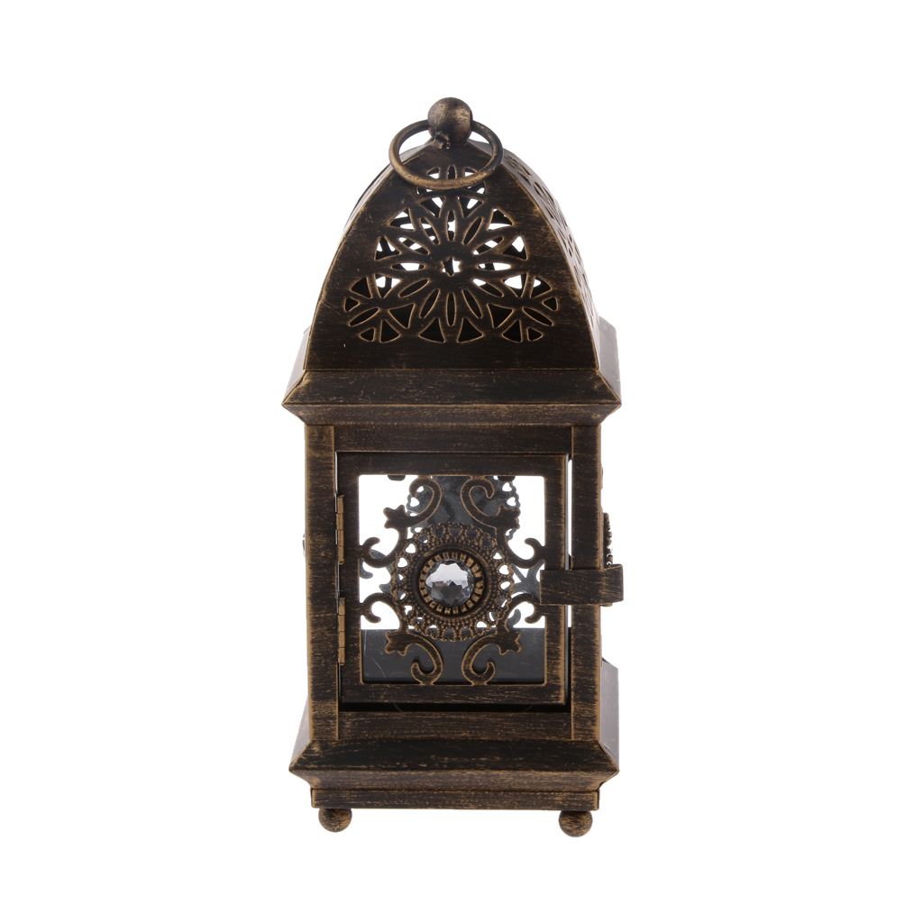 Vintage Floral Hollow Hanging Lantern Candle Holder Candlestick Tea Light