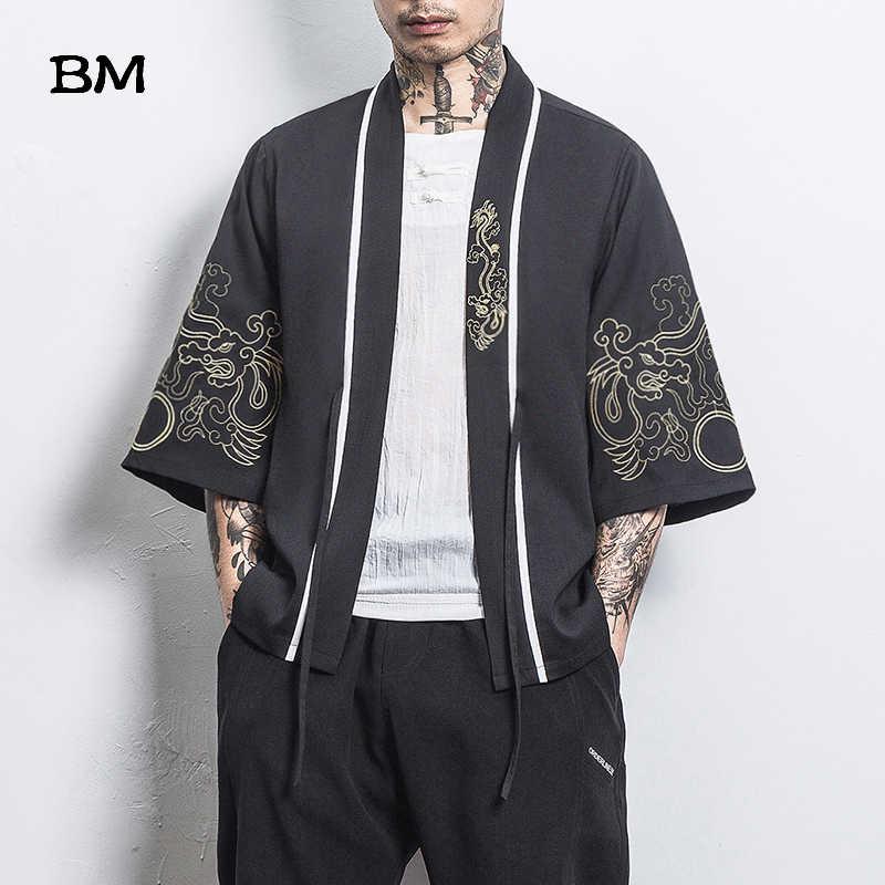 2020 קיץ בסגנון סיני חולצות בגדי רקמת Hanfu יפני קימונו קרדיגן מעיל חלוק עתיקות סגנון גלימת Hanfu