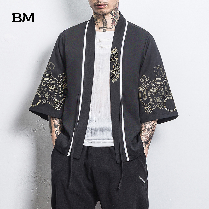 2020 Summer Chinese Style Tops Men'S Clothing Embroidery Hanfu Japanese Kimono Cardigan Jacket Robe Ancient Style Cloak Hanfu