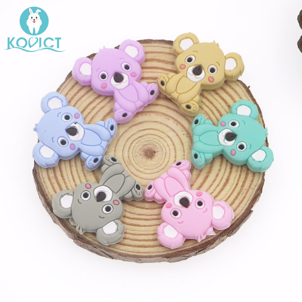 Kovict 6/10pcs 28mm Silicone Beads Mini Koala Bead Baby Silicone Teether Food Grade Rodents DIY Baby Teething Toys
