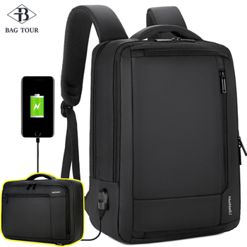 цена на Men Backpacks Business Bags Multilayers big capacity USB safe Travel business commuting Nylon strong School laptop bag pack