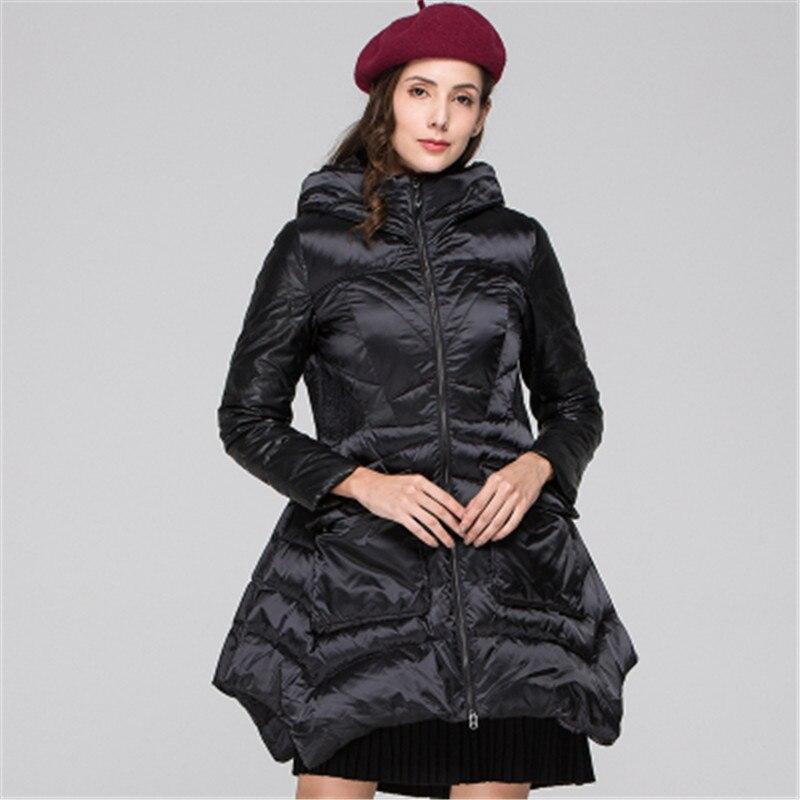 2019 nueva chaqueta de invierno para mujer de sección larga de moda salvaje con capucha de gran oscilación de chaqueta de cintura delgada 1