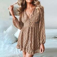 Conmoto Vintage kış zarif elbise kadın şifon düğme bayan elbise Retro kısa Ruffles V boyun parti elbiseler Vestidos