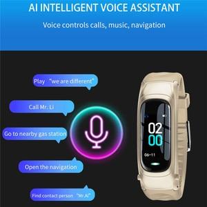 Image 3 - B9 חכם שיחת צמיד Bluetooth אוזניות צמיד קצב לב צג גשש כושר אוזניות חכם להקת דיבור עבור IOS אנדרואיד