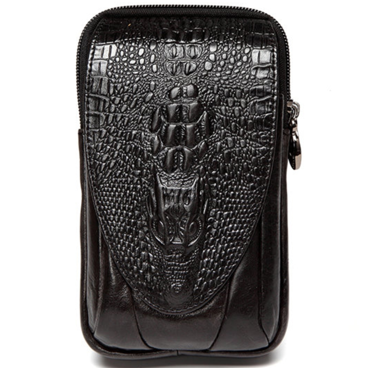 Croc Embossed Leather 6in Phone Pouch Belt Hip Bum Bag For Men Free Shipping