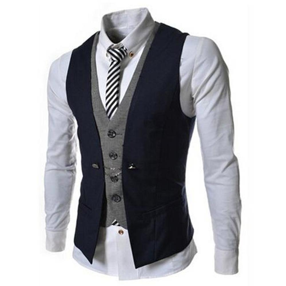 Mens Vest New Listing Fashion Brand Formal Slim Fit Waistcoat Male Blazer Vest Casual Color Patchwork Buttoned Suit Vests