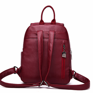 Image 4 - 2019 Solid Leather Backpacks Female Travel Large Capacity Backpack School Preppy Style Women Backpack Laptop Sac a Dos Rusksacks