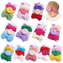 3 Pcs/set Fashion Children Bow Lace Headband Set Baby Stretch Hair Accessories New Kids Donut Knotted Band