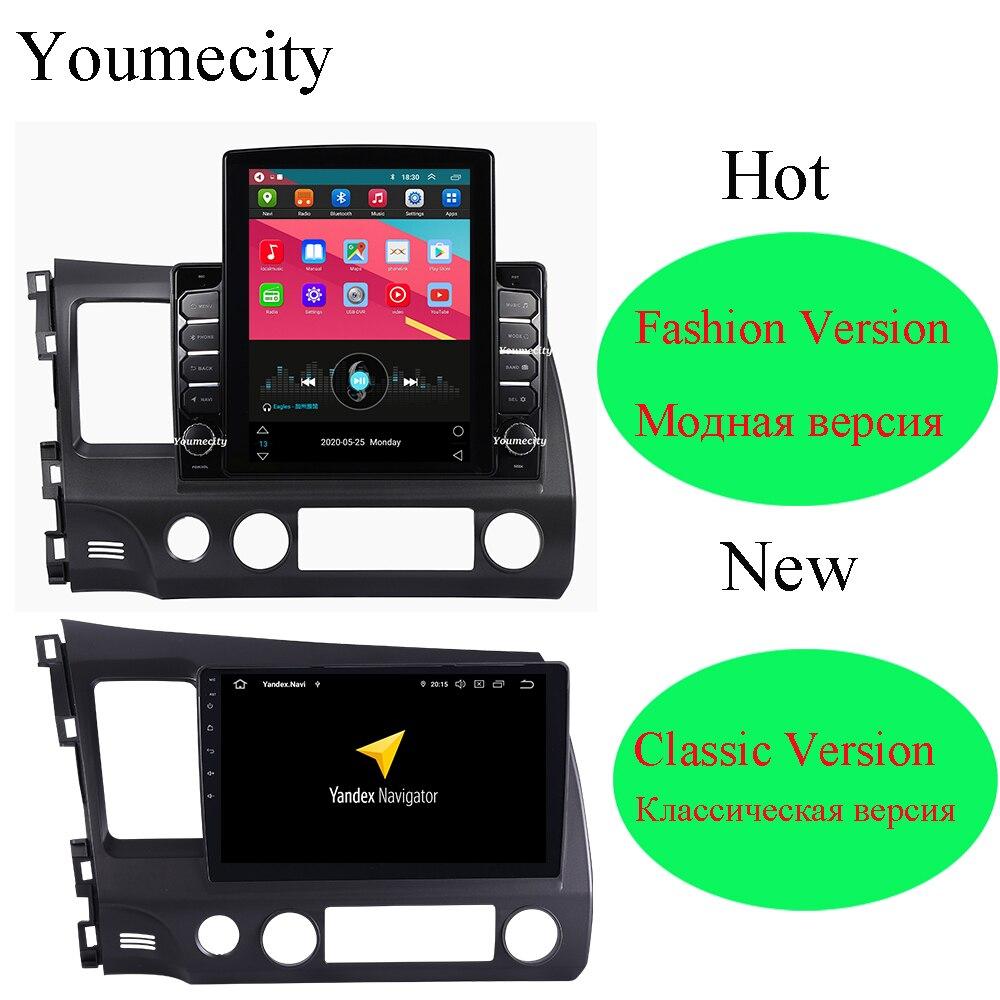 Lecteur multimédia de voiture 4G RAM/huit cœurs/Android 9.0 DVD Gps pour Honda Civic 2007 2008 2009 2010 2011 2016 avec WIfi DSP Carplay2 din 10.12 dindvd navi -