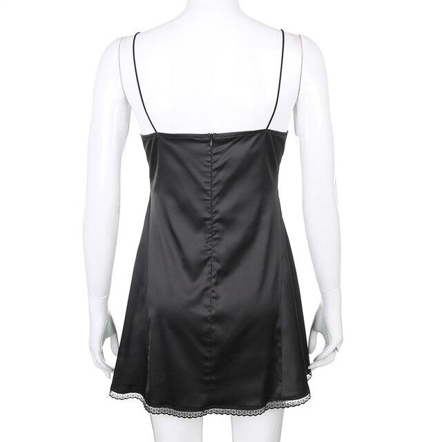 Darlingaga V Neck Satin Strap Sexy Black Dress Women Lace Patchwork Backless Summer Dress Mini Side Split Ladies Dresses Fashion 6
