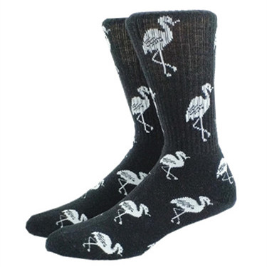 2 Pack Men's Flamingo Skate Socks   ( Thick And Terry Cushioned )