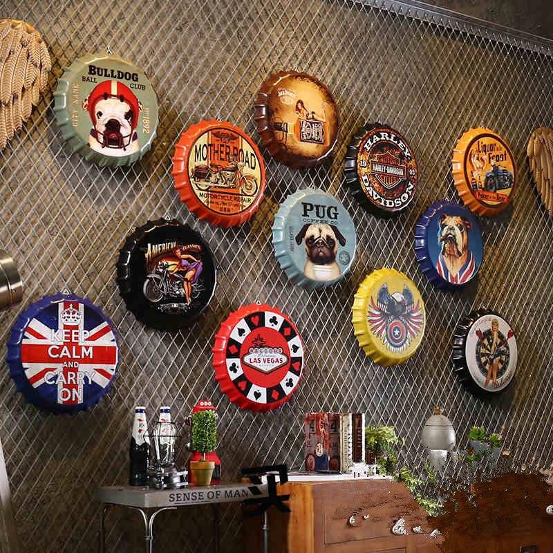 Металлическая крышка для пивной бутылки в стиле ретро, декоративное настенное украшение 35 см, винтажный декор для бара, кофейни, магазина, с...