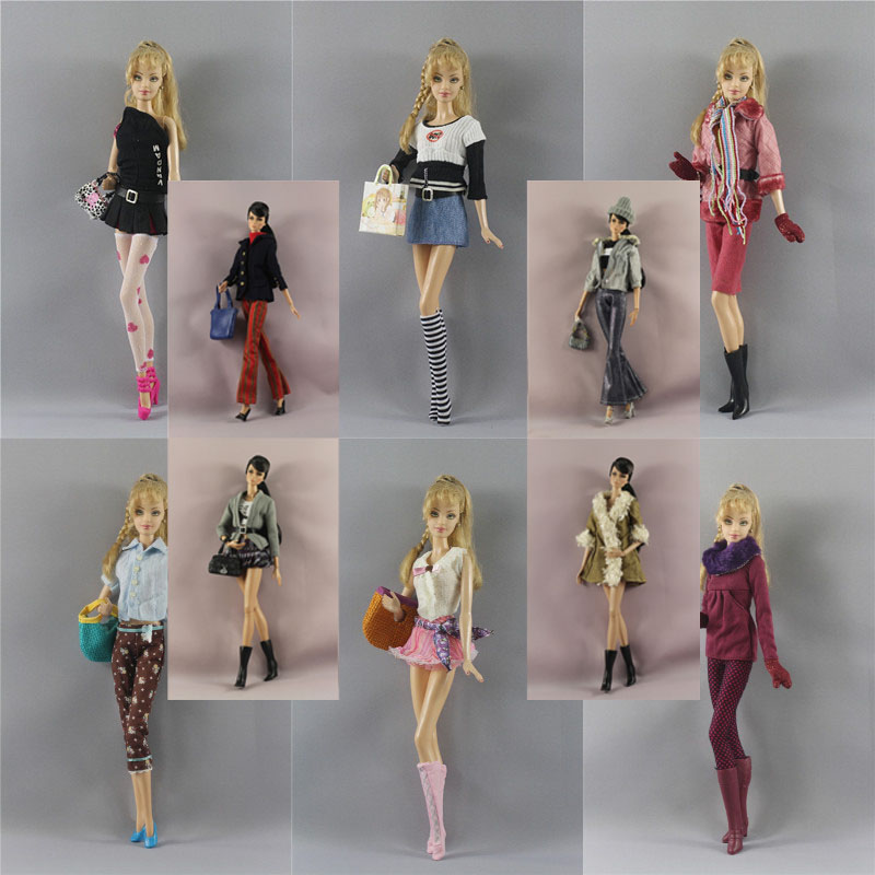 Winter Wear Clothes Set Outfit / Coat + Pants Sockings Hat Bag For 1/6 BJD Xinyi FR ST Barbie Doll /  Baby Doll Clothes Xmas