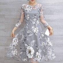6 Colors Plus Size Women Mesh Floral Print Dress Summer Wedding Party Elegant Dresses 2XL