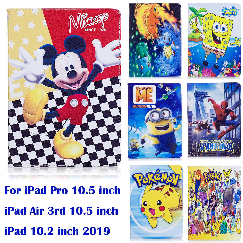 "Stojak etui z klapką do Apple iPad Pro 10.5 ""iPad Air 3 iPad 10.2 2019 etui kreskówka myszka miki Pokemon miniony SpongeBob coque para capa"