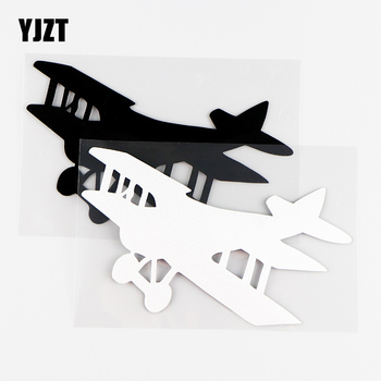 YJZT 14.3X9CM Interessting Car Stickers Vinyl Decals Window Decoration Of Aircraft Fly Aviation Sky Black / Silver 10A-0281 image