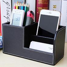 Creative Gifts Custom PU Multifunctional Pencil Cell Phone Business Name Cards Desk Organizer School Office Stationery Supplies