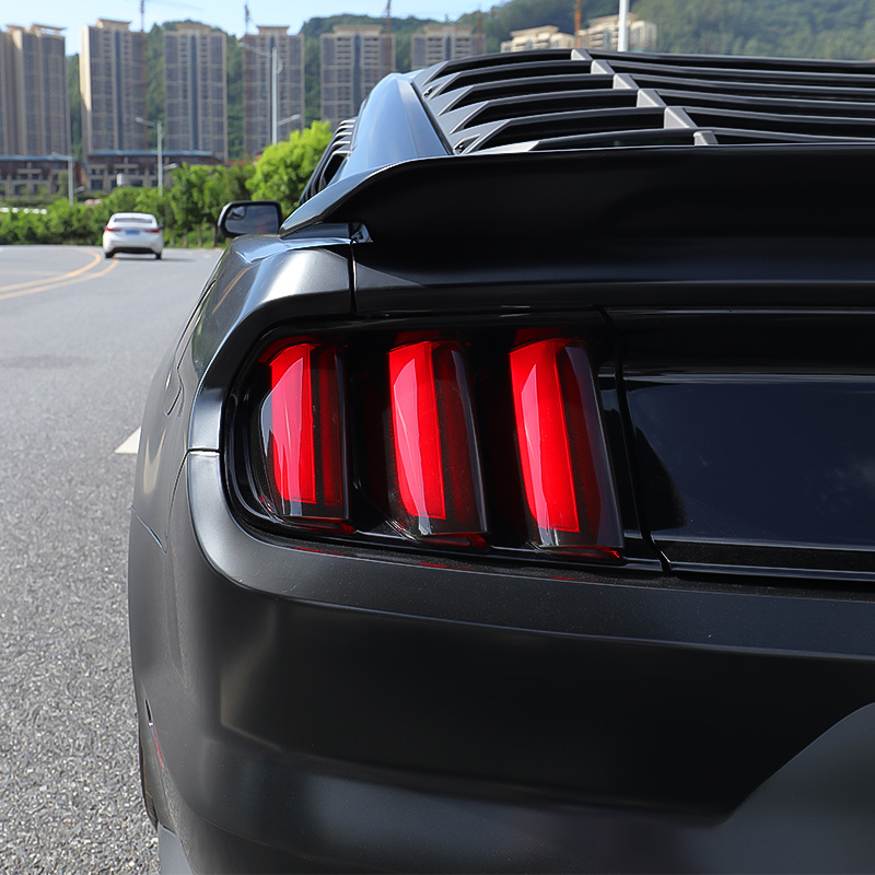 QHCP Acrylic 6Pcs Car Rear Tail Light Lamp Cover Smoked Black Protector Sticker for Ford Mustang 2015 2016 2017