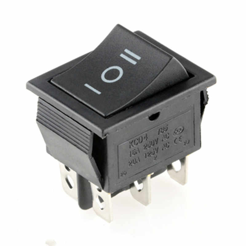KCD4 Rocker Switch Power Switch 2 Posisi/3 Posisi 6 Pin Peralatan Listrik dengan Saklar Lampu 16A 250VAC/ 20A 125VAC 1Pcs
