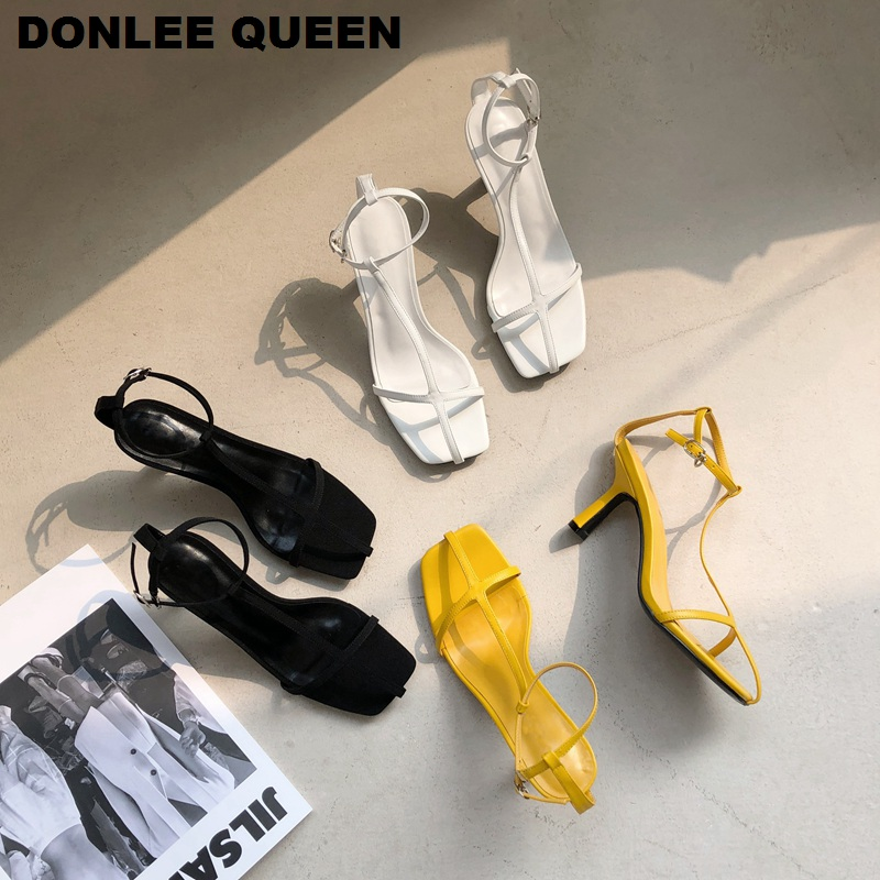 2020 Fashion Women Sandals Narrow Band Vintage Square Toe High Heels Buckle Strap Gladiator Sandal Women Brand Shoes For  Party