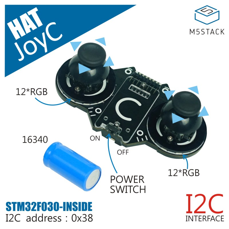 M5Stack Official JoyC Rocker Module Designed For The M5StickC STM32F030F4 Control Chip Game Handle I2C Wireless Joystick Device