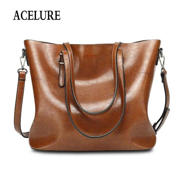 ACELUREผู้หญิงกระเป๋าแฟชั่นกระเป๋าถือผู้หญิงน้ำมันขี้ผึ้งหนังขนาดใหญ่ความจุกระเป๋าถือกระเป๋าCasual Puหนังผู้หญิงMessengerกระเป๋า