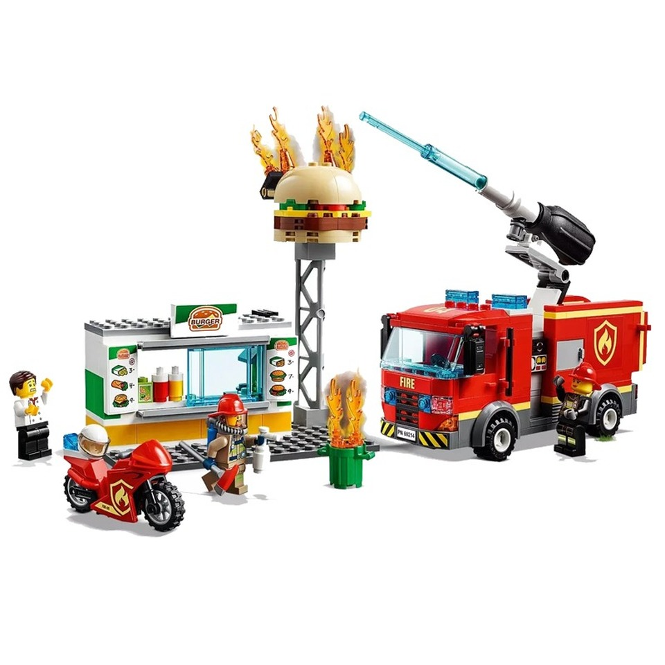 2019 Fire Rescue Burger Bar Figure Bricks Model Compatible Legoingly City 60214 Building Blocks Toys for Children Christmas Gift