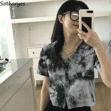 T-shirt à manches courtes pour femmes, Streetwear à simple boutonnage, avec teinture par nouage, Vintage, Design de Style coréen, tendance, Hip Hop, nouveau