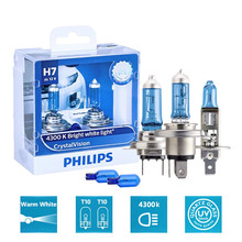 Philips Crystal Vision 2pcs H1 H4 H7 H11 HB2 HB3 HB4 9003 9005 9006 12V CV 4300K Bright White Car Halogen Head Light Auto Lamp