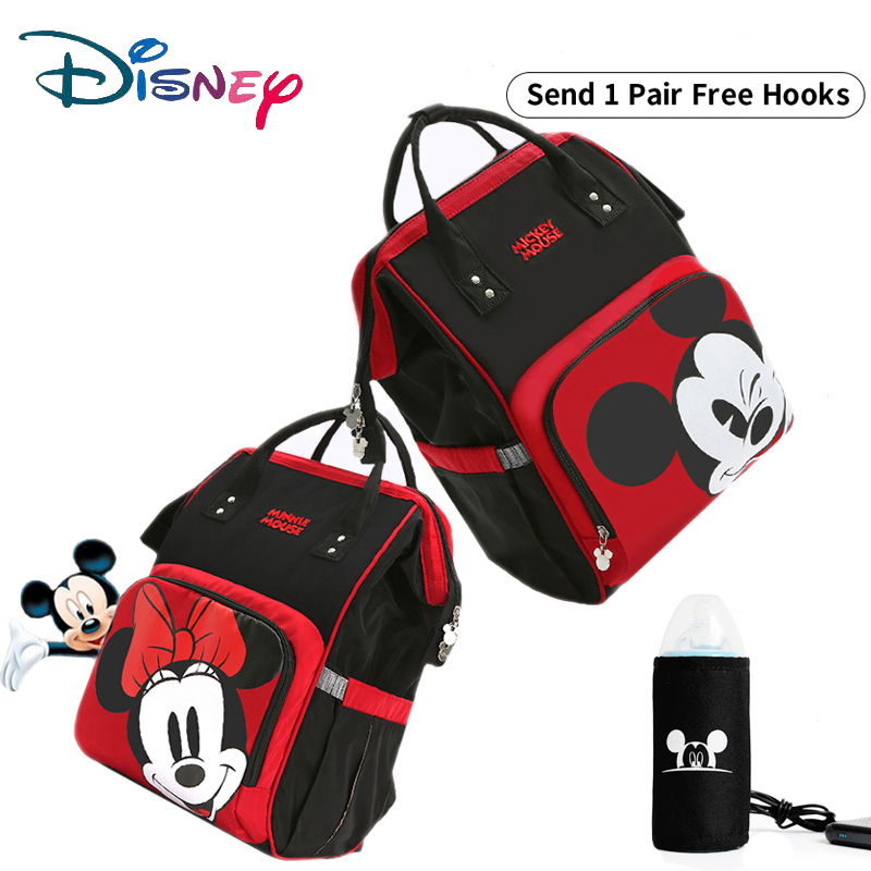 Disney Cute Minnie Mickey Red Diaper Bag Waterproof/Baby Care/Mummy Bag Maternity Backpack Large Nappy Bag Striped Bow Dot Smile