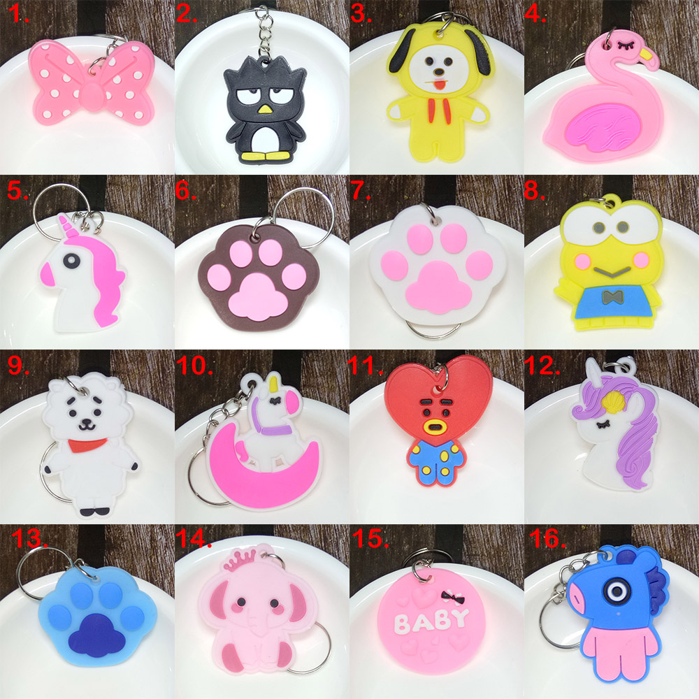 5pieces Wholesale Mix Cartoon Figure Keychain Soft Silicone PVC Key Chain Keyring Kids Key Holder Trinket Gift Size 3-4cm
