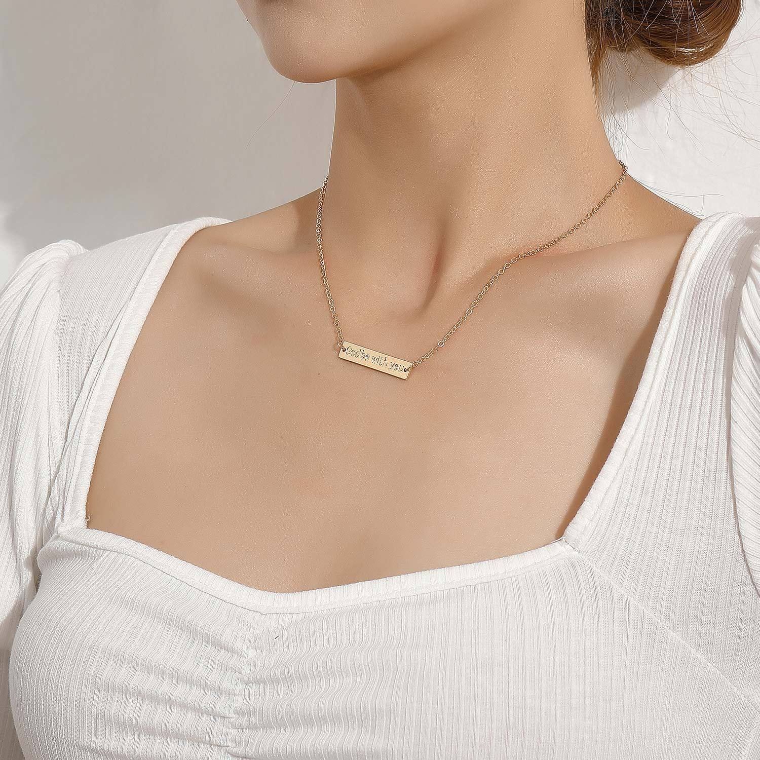 God Be with You Tag Pendant Necklace for Women Gold Silver Color Clavicle Chain Short Necklaces Female 2020 Fashion Jewelry New