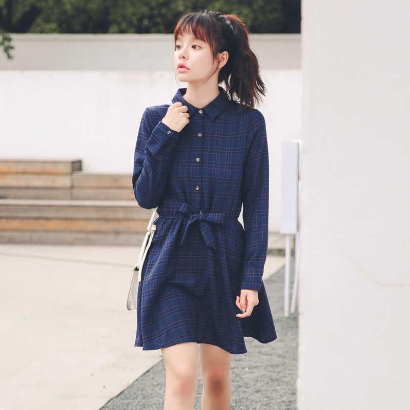 Японский Mori Girl; Винтажный стиль платье весна осень женские с длинными рукавами Синие Клетчатые Хлопковые Платья