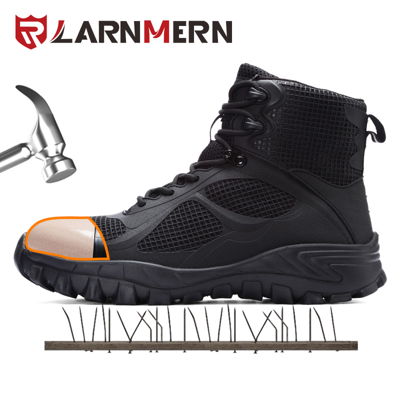 LARNMERN Men's Work Safety Shoes Steel Toe Construction Sneaker Lightweight Breathable Anti-smashing Anti-puncture Safety Boots