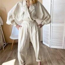 Новый европейский и американский модный Повседневный свободный однотонный костюм из хлопка и льна с большими полыми рукавами