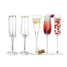 1pcs ouro guarnição champanhe flauta óculos cocktail elegante projetado mão soprado, sem chumbo, copos de champanhe