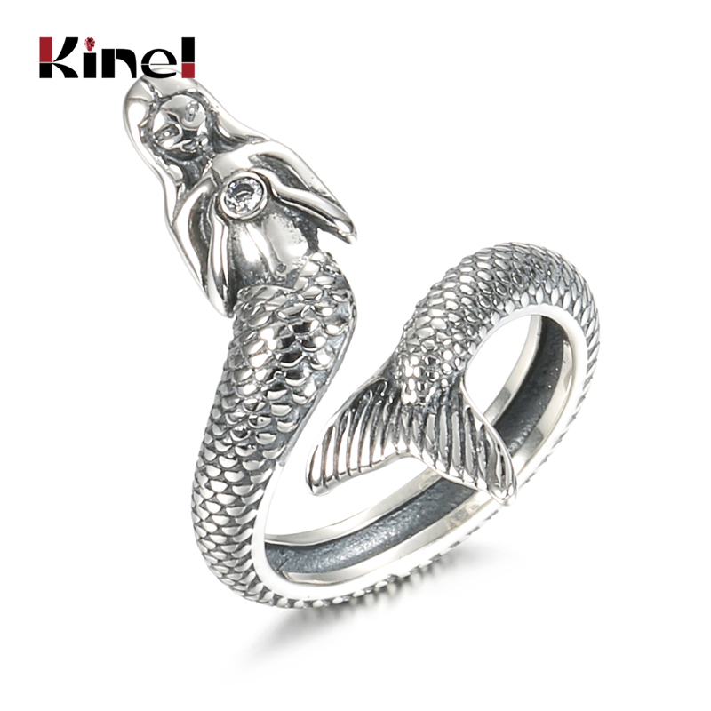 Kinel Hot Sale Trendy 100% 925 Sterling Silver Animal Collection Mermaid Family Finger Rings For Women Silver Jewelry Gift