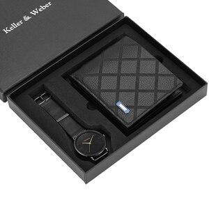 Image 3 - Business Mannen Horloges Roestvrij Stalen Band Mannen Quartz Horloge Lederen Portemonnee Gift Set Voor Vriendje Vader Echtgenoot Hot Koop 2019