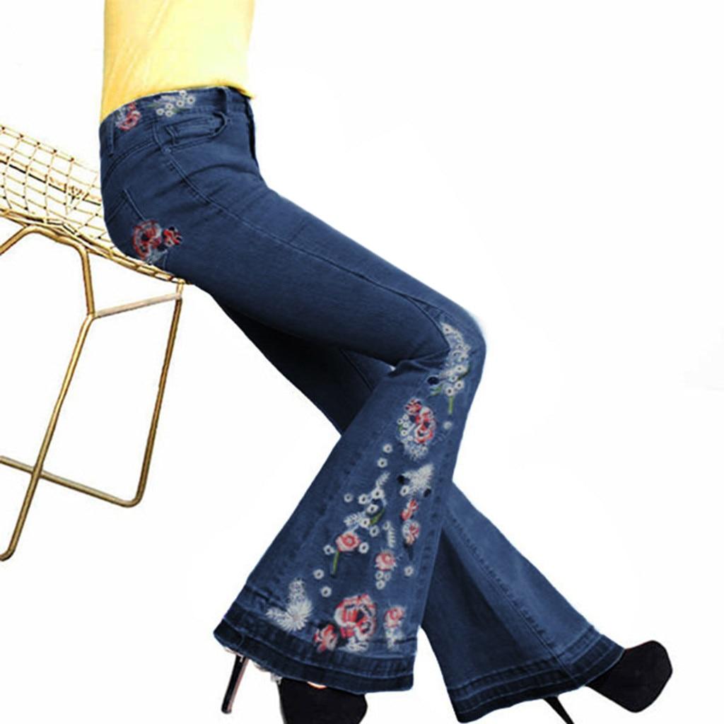 Wide Leg   Jeans   Pants Women Denim Long Pants Embroidery High Waist Lady Elegant Slim Capris Ethnic Style Trousers Stylish Pant