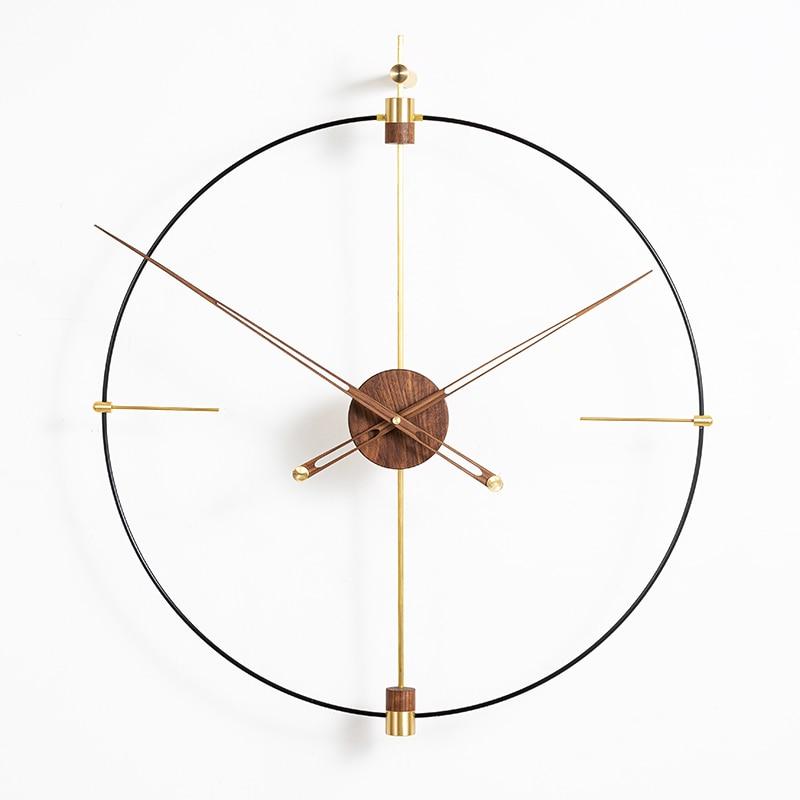 Креативные современные металлические золотые ореховые роскошные часы большого размера настенные домашние украшения для гостиной Reloj пода...