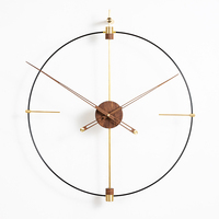 Creative Modern Luxury Wall Clock Metal Gold Walnut Office Luxury Large Size Clocks Wall Home Decor Living Room Reloj Gift D055