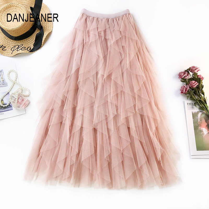 DANJEANER Elegant Women Irregular Tulle Skirt Solid High Waist Mesh Tutu Skirt Pleated Long Midi Skirt Saias Faldas Jupe Femmle
