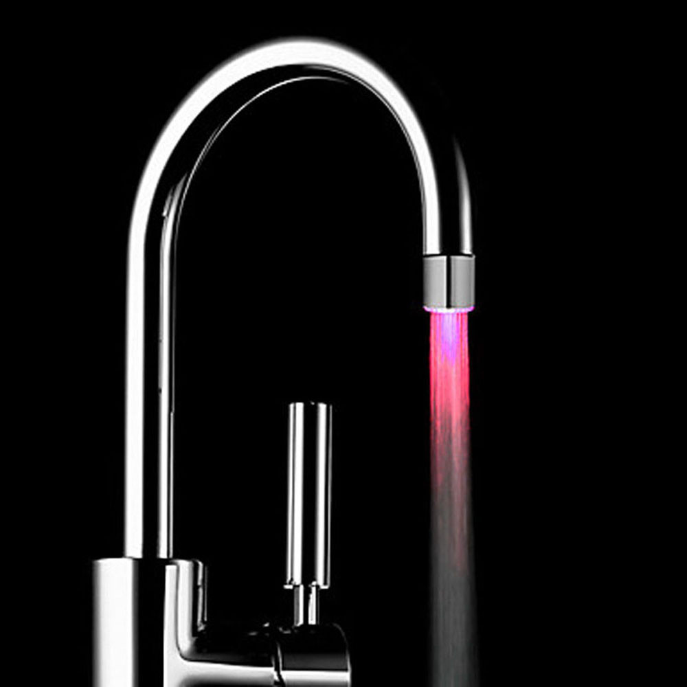7 Colors RGB Changing Glow LED Water Faucet Stream Light Shower Tap Head Kitchen Pressure Sensor Bathroom Accessory CD